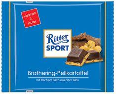 Ritter Sport Brathering-Pellkartoffel: die Schokolade mit frischem Fisch aus dem Glas