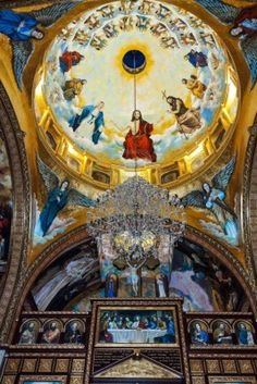 Golden mosaic in Coptic Church, Sharm El Sheikh, Sinai, Egypt