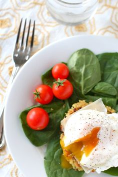 Quinoa cakes w/ poached eggs