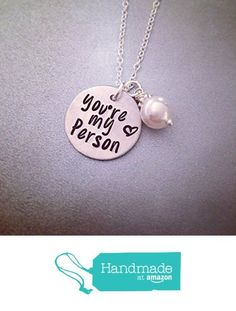 "NOW ON AMAZON PRIME! You're My Person Necklace - Ready to Ship - Personalized Necklace - Hand Stamped Jewelry - Greys Anatomy Inspired ""You're My Person"" Necklace from Kristine's Keepsakes <a href=""http //www.amazon.com/dp/B01CBOZZU2/ref=hnd_sw_r_pi_dp_vWg7wb0X9RTYD"" rel=""nofollow"" target=""_blank"">www.amazon.com/ </a> <a class=""pintag searchlink"" data-query=""%23handmadeatamazon"" data-type=""hashtag"" href=""/search/?q=%23handmadeatamazon&rs=hashtag"" rel=""nofollow"" title=""#handmadeatamazon…"