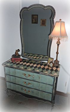 Whimsical French Provincial Dresser with Mirror.