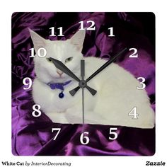 White Cat Square Wall Clock