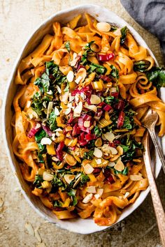 TUSCAN ROASTED RED PEPPER PASTA WITH WINTER GREENS