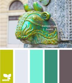 Create a island getaway inside (winter white, turquoise, dark turquoise, plum and mustard green)