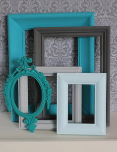 Vintage Gray & Aqua Ornate Lot of 5 Pic Frames Cottage Wedding Mid Century French Country Shabby Chic