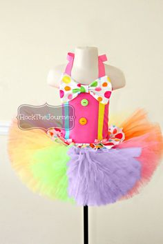 Pink Polka Dot Clown Tutu Outfit - Circus Carnival Rainbow BIrthday Party Candy Land Pageant Dress - Halloween Costume - Baby Girl Toddler on Etsy, Rainbow Birthday Party, Carnival Birthday Parties, Circus Birthday, Baby Girl Birthday, Birthday Party Themes, Cake Birthday, Circus Party, Circus Theme, Birthday Ideas