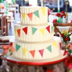 Definitely like the bunting. The cake can be done in normal buttercream frosting, with bits and pieces of fondant. That way we're not pulling it all off or being forced to eat a lot of it.