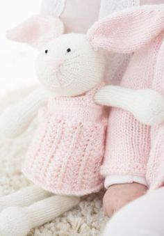 Zoe Bunny is the perfect cozy bedtime companion. Knit in Patons Beehive Baby Sport.