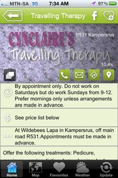 """Cynclaire's Travel Therapy is a hAPPy activity - a """"what to do"""" listing on the Hoedspruit Info App"""