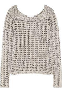 Duffy Metallic-trimmed open-knit sweater