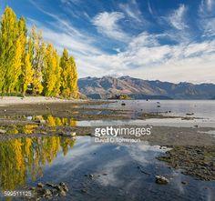 Lake Wanaka shoreline in autumn, Roys Bay, Wanaka