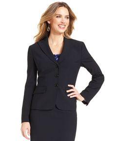 Anne Klein Jacket, Tropical-Wool-Blend Blazer - Suits & Suit Separates - Women - Macy's, $103