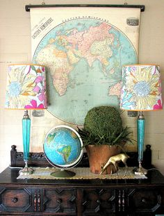love the globe, map & liberty of london lampshades together. great combo!