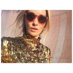 Hanni Gohr looks amazing wearing the Tokyo Sequins T-shirt Clear Crystal, Tokyo, Sequins, Sunglasses, Danish Fashion, Model, T Shirt, How To Wear, Collection