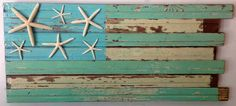 Coastal Flag with Starfish by RidleyStallingsArt on Etsy Outdoor Projects, Diy Projects, Beach Flags, Pallet Frames, Palette Projects, Wooden Flag, Reclaimed Wood Art, Woodworking Projects Diy, Beach Scenes