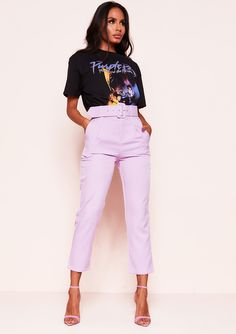 Look ultra chic in our super elegant and on-trend Shay Lilac High Waist Belted Trousers. With super flattering high waist design and tailoring belt detail. Wear with a crop top, shirt or bodysuit for a sophisticated feel. Purple Outfits, Casual Outfits, Fashion Outfits, Satin Trousers, Trousers Women, Mode Style, Pants Outfit, Casual Looks, Clothes