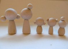 Kokeshi dolls - Peg dolls - Unfinished, unpainted, Blank, DIY Wood dolls - Set of 5 with hair buns