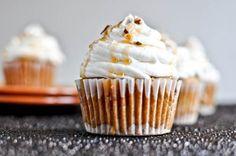 Sweet Potato Pie Cupcakes with Marshmallow Buttercream Frosting