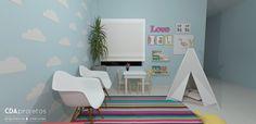 Consultório odontológico infantil colorido | CDA projetos - sala de espera candy colors com detalhes lindos para as crianças brincarem enquanto esperam