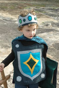 Knight Costume Gift Set GREY and BLUE - Super Cape - Super Hero Costume - Halloween Costume - Halloween Costume - Kid Costume. $175.00, via Etsy.