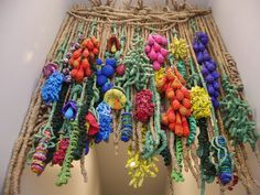 flowers - art yarn from plastic