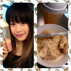 Enjoying my lunch #shake and #ricecake with my #HerbalTea❤