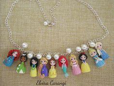 Disney Prinzessinnen Cinderella Ariel Halskette schöne Jasmin Mulan Fimo Kreationen Elsa Rapunzel)