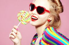 Photo about Glamourous girl wearing heart shaped sunglasses holding lollipop. Image of attractive, adult, holiday - 17331914 Candy Girls, Girls Lipstick, Estilo Pin Up, Use E Abuse, Foto Fashion, Fashion Site, Heart Shaped Sunglasses, Thought Catalog, Summer Makeup