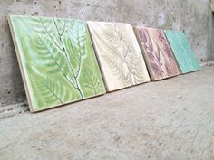 Hand Rolled and Cut Porcelain Tiles/Coasters/Trivets in Pastels with Fern..(Nature Series)
