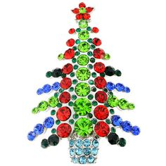Bright and festive, this Christmas tree pin is studded all over with dazzling Swarovski stones in an array of colors. Pin on this merry, silvertone brooch for an extra special holiday season. Style: B