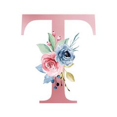 Floral alphabet, letter T with watercolor flowers and leaf. Monogram initials perfectly for wedding invitations, greeting card, logo, poster and other design. - Buy this stock illustration and explore similar illustrations at Adobe Stock