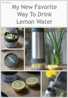 Awesome water bottle that grinds the lemon pieces up when you twist it.  Get the essential oils from the peel for added health benefits.  Adding a sprig of fresh mint is delish, so is cucumber and mint!