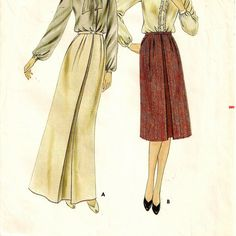 An Inverted Front Pleat, Buttoned Waistband, Front Slant Pocket, Long/Knee Length Skirt Pattern