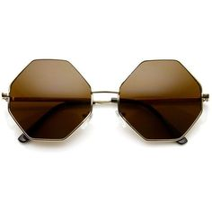 Vintage Fashion Octagonal Geometric Metal Sunglasses 8942 (€17) ❤ liked on Polyvore featuring accessories, eyewear, sunglasses, circular lens sunglasses, square glasses, circular glasses, square lens sunglasses and circle lens glasses