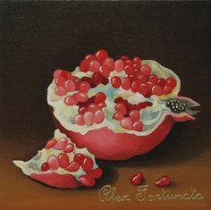 Pomegranate (№2), oil painting, size 20x20cm. Oil Paintings by Alexey Volgutskov.