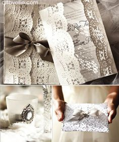 White Lace Wedding Invitations by http://artbyellie.com - how pretty is that?!