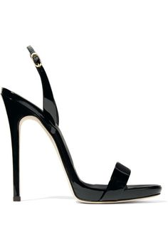 Heel measures approximately 120mm/ 5 inches Black patent-leather Buckle-fastening slingback strap Made in Italy