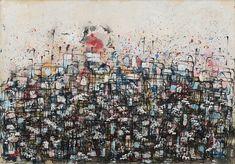 A Grande Cidade 1964   Antonio Bandeira mista sobre cartão, c.i.d. 70.00 x 100.00 cm