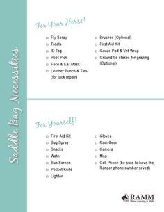 Saddle Bag Necessities Printable Checklist | Your Horse Farm | Download and print off this saddle bag checklist so you're prepared on your next trail ride! #yourhorsefarm #equestrian #blog #lifestyleblog #horseriding #printables #checklist