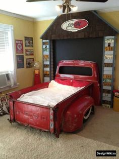 Bedroom Set out of 1956 Ford Truck bed. OMG if we ever have a boy, will would wanna put a bagged truck bed in his room. Cool Kids Bedrooms, Kids Rooms, Boy Rooms, Kid Bedrooms, Theme Bedrooms, Girls Bedroom, Trendy Bedroom, Dream Bedroom, Bedroom Bed