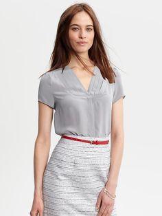 Banana Republic | Silk pleat-front blouse