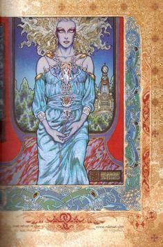 """Ethne    Fille d'un Fomoré, elle épouse Cian, une des Thuatha Dé Danann, et donne naissance au Dieu LUG, aux longs bras, le """" Multiple artisan """"    Illustration : Jim Fitzpatrick - Ethne, Mother of Lugh (1979)"""