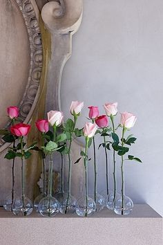 Easy DIY Wedding flowers! Roses in bud vases! Pink Roses!
