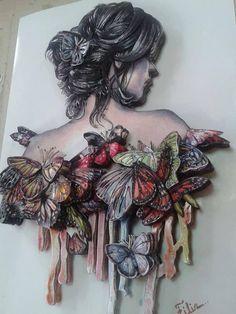 nafiye çelik özcan's media content and analytics - Art ideas Mixed Media Canvas, Mixed Media Collage, Collage Art, Altered Canvas, Altered Art, Plaster Art, Decoupage Art, Quilling Art, Assemblage Art
