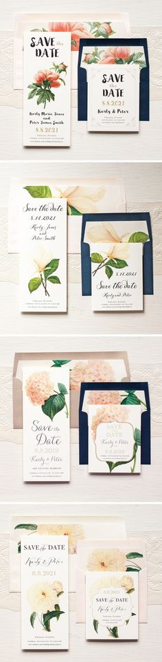 Classic Floral Save The Dates With Custom Envelope Liners #modern #wedding…