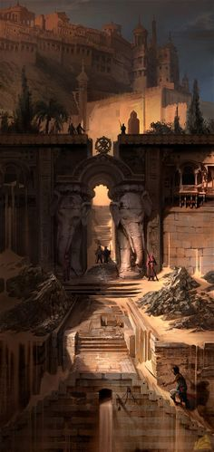 """mad-moiselle-bulle: """" Prince Of Persia Artwork. """" mad-moiselle-bulle: """" Prince Of Persia Artwork. Fantasy City, 3d Fantasy, Fantasy Places, Fantasy Setting, Fantasy Kunst, Fantasy Landscape, Fantasy Artwork, Fantasy World, Environment Concept"""