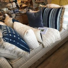 #spotted the mila chaise in Beau elemental @tuvaluhome  #style #interiordecor #interior #interiorslove #interiordesign #design #stripe #indigo #pillows #home #homedesign by peninsulahomebrand http://discoverdmci.com