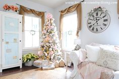 Farmhouse Family Room Decorated in Pink for Christmas French Christmas Decor, Cottage Christmas, Cool Christmas Trees, Christmas Tree Design, Pink Christmas, Christmas Home, Christmas Ideas, Christmas Decorations, Town And Country