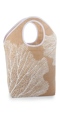 coral - coastal tote - Coral Shoreline Jute Tote Bag by Mud Pie