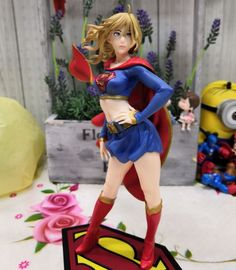 Superman Characters, Bishoujo Statue, Supergirl Superman, Art And Hobby, Black Costume, Natural Blondes, Anime Figures, Action Figures, Comic Book Heroes